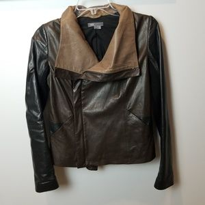 VINCE cross front leather jacket Small